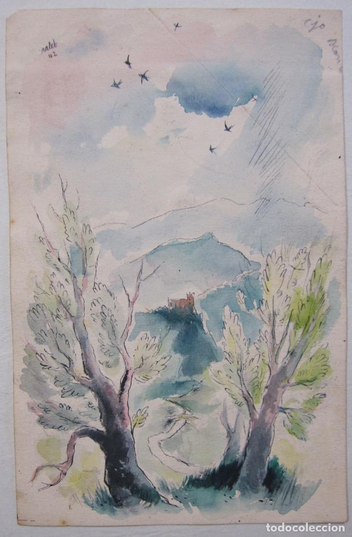 Arte: JOAN PALET BATISTE. 6 LITOGRAFIAS ILUMINADAS A MANO. 1942. 13 X 8,5 CM. FIRMADAS Y FECHADAS - Foto 6 - 252773260