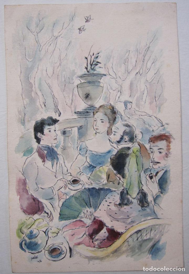 Arte: JOAN PALET BATISTE. 6 LITOGRAFIAS ILUMINADAS A MANO. 1942. 13 X 8,5 CM. FIRMADAS Y FECHADAS - Foto 7 - 252773260
