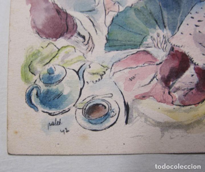 Arte: JOAN PALET BATISTE. 6 LITOGRAFIAS ILUMINADAS A MANO. 1942. 13 X 8,5 CM. FIRMADAS Y FECHADAS - Foto 8 - 252773260