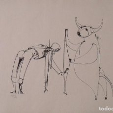 Arte: SALVADOR AULÈSTIA. FIRMADA Y NUMERADA A MANO 9/100. LA FIESTA DE LOS TOROS. 1966. TORERO Y TORO.. Lote 253425545