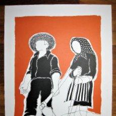 """Arte: LITOGRAFÍA DE PEDRO SOBRADO, """"CAMPESINOS"""" FIRMADA A LAPIZ Y NUMERADA 86/230. Lote 254579700"""