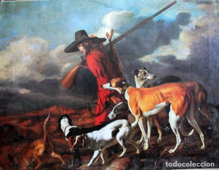 THE HUNTER, ADRIAEN CORNELISZ BEELDEMAKER. IMPRESIÓN SOBRE LIENZO. 72X55CM (Arte - Litografías)
