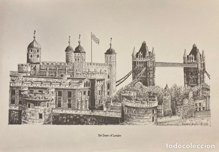 THE TOWER OF LONDON. LA TORRE DE LONDRES. LITOGRAFÍA DE BERNARD SMITH. 1979. 34X22 CM. (Arte - Litografías)