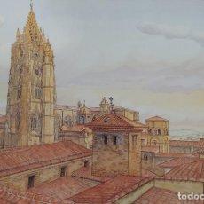 Arte: EFREN GARCÍA (MIERES, ASTURIAS) CATEDRAL DE OVIEDO DESDE EL PALACIO DE VELARDE. Lote 260274365