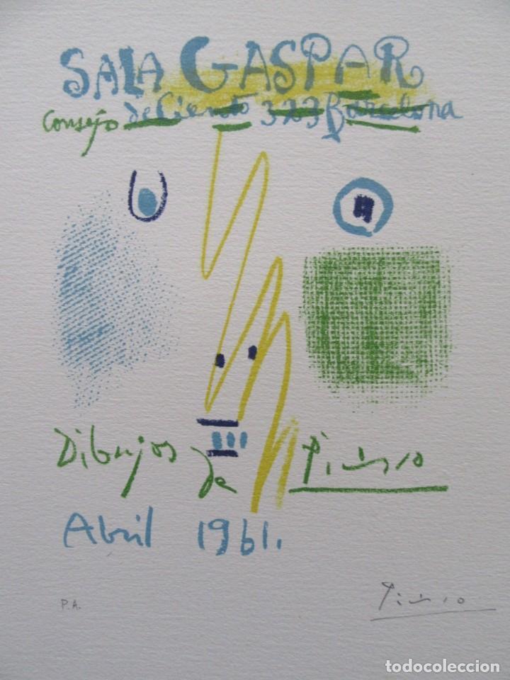 """PICASSO.""""SALA GASPAR, BARCELONA, ABRIL 1961"""". LITOGRAFIA FIRMADA A MANO Y CERTIFICADA (Arte - Litografías)"""