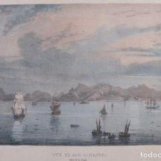 Arte: LITOGRAFÍA PLAYA CON BARCOS RIO DE JANEIRO SIGLO XIX. Lote 262282650