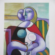 """Arte: PICASSO.""""WOMAN ON STRIPPED CHAIR"""". COLECCION DOMAINE PICASSO. FIRMADA A LAPIZ Y CERTIFICADA.. Lote 268837389"""