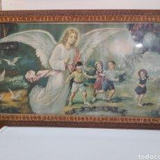 Arte: ANTIGUA LITOGRAFIA ,ANGEL DE LA GUARDA, ENMARCADA DE EPOCA. Lote 269161853