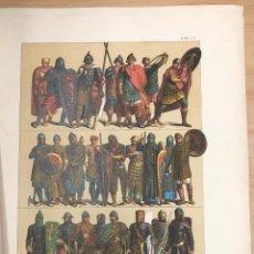 Arte: CROMOLITOGRAFIA TRAJES DE GUERRA DE LOS FRANCOS (700-1200). EDAD MEDIA. Lote 269840883