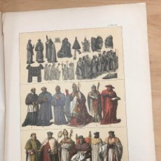 Arte: CROMOLITOGRAFIA TRAJES DE FUNCIONARIOS Y DIGNIDADES DE LA IGLESIA CATOLICA HASTA EL AÑO 1600. Lote 269841303