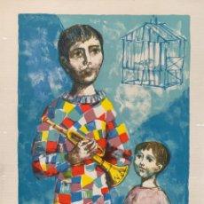 Arte: LITOGRAFÍA ARLEQUÍN Y NIÑO NUMERADA 8 DE 14 Y FIRMADA A MANO MIGUEL IBARZ 53,5X42,5 CM. Lote 270627783
