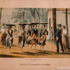 """Arte: ARRIVÉE DES MARCHANDES DE SARDINES"""". LITOGRAFÍA. Nº 1. 27,6 X 40 CM - C.MAURIOU. Lote 273725228"""