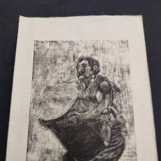Arte: LITOGRAFIA OFFSET HARRIJASOTZAILE PEDRO SANTAMARTA 1/500 FIRMADA Y NUMERADA PAIS VASCO KIROLAK. Lote 275535398