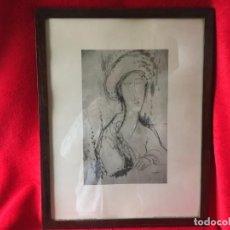 Arte: MODIGLIANI, ANTIGUA LITOGRAFÍA ENMARCADA. Lote 278485283