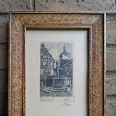 Arte: GRABADO ROTHENBURG OB DER TAUBER, FIRMADO. Lote 278610948