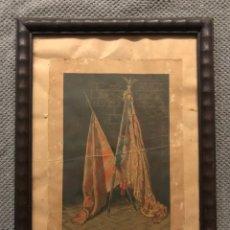 Arte: VALENCIA, LITOGRAFIA ANTIGUA, SEÑERA DEL REY DON JAIME. BANDERA DE VALENCIA, T. PEREZ, LITOGRAFIA. Lote 288391288