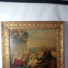 Arte: ANTIGUO CUADRO LITOGRAFÍA SAGRADA FAMILIA NIÑO JESÚS HACIA 1900. Lote 289863868