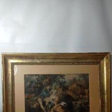 Arte: ANTIGUO CUADRO LITOGRAFÍA ESCENA ROMÁNTICA ILUMINADA A MANO MARCO ORO FINO FFSXIX. Lote 289863983
