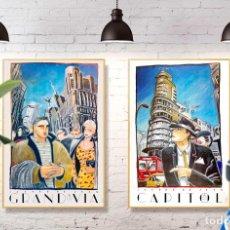 Arte: LOTE 2 CARTELES ORIGINALES JAVIER DE JUAN 1985. GRAN FORMATO 99X69CM. Lote 295733188