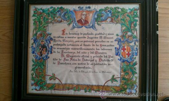 1945.PERGAMINO HOMENAJE A MANUEL RUEDA GONZALEZ MAGISTERIO ALMERIA SANT FELIU DE LLOBREGAT BARCELONA (Arte - Manuscritos Antiguos)