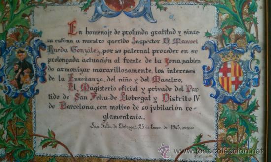 Arte: 1945.PERGAMINO HOMENAJE A MANUEL RUEDA GONZALEZ MAGISTERIO ALMERIA SANT FELIU DE LLOBREGAT BARCELONA - Foto 2 - 37744661