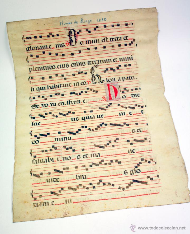 Arte: tinta en pergamino, año 1820. tamaño: 52x37cm. - Foto 3 - 43200041
