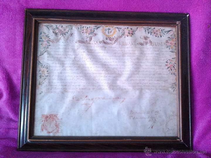 MANUSCRITO NOMBRAMIENTO ORIGINAL DE LA SANTA INQUISICION DE MURCIA 1793 (Arte - Manuscritos Antiguos)