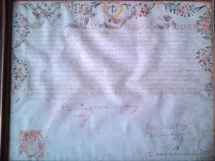 Arte: MANUSCRITO NOMBRAMIENTO ORIGINAL DE LA SANTA INQUISICION DE MURCIA 1793 - Foto 2 - 44520161