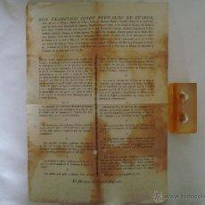 Art: EDICTO CONTRA LA SUBLEVACIÓN EN EL PRINCIPADO DE CATALUÑA. 1827. 40 X 28 CM.. Lote 49182080