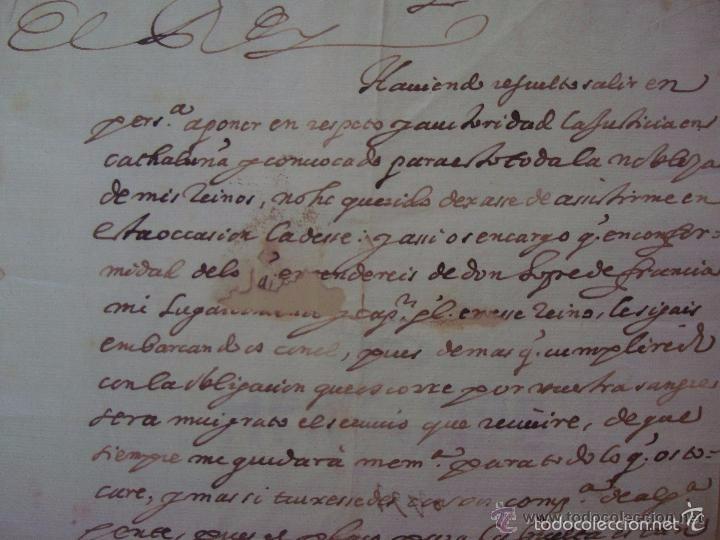 Arte: MANUSCRITO HISTORICO DE LA SUBLEVACIÓN DE LOS CATALANES EN 1640.FIRMADO FELIPE IV - Foto 4 - 55341848