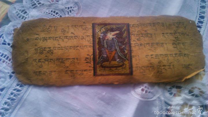 Arte: Libro formato pothi apaisado con dibujos a color,papel de arroz grueso,sanscrito.5 hojas,leer por fa - Foto 2 - 56212045