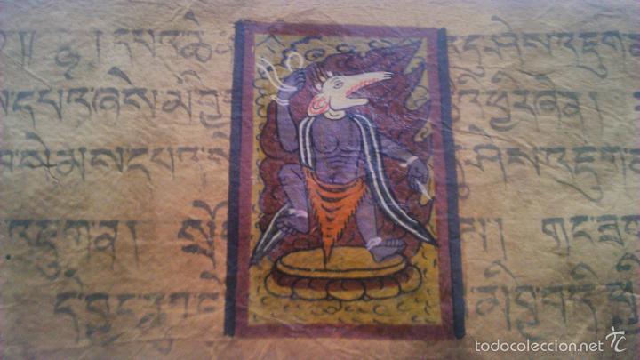 Arte: Libro formato pothi apaisado con dibujos a color,papel de arroz grueso,sanscrito.5 hojas,leer por fa - Foto 3 - 56212045