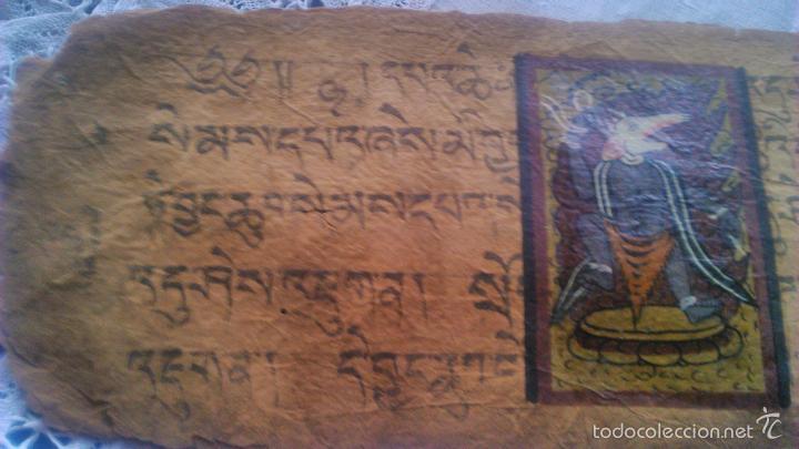 Arte: Libro formato pothi apaisado con dibujos a color,papel de arroz grueso,sanscrito.5 hojas,leer por fa - Foto 4 - 56212045