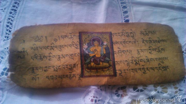 Arte: Libro formato pothi apaisado con dibujos a color,papel de arroz grueso,sanscrito.5 hojas,leer por fa - Foto 7 - 56212045