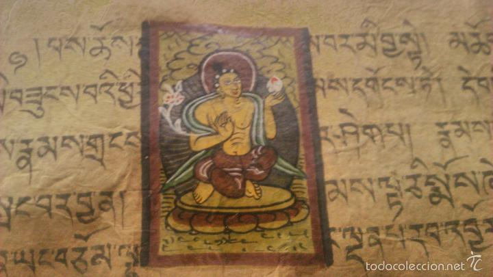 Arte: Libro formato pothi apaisado con dibujos a color,papel de arroz grueso,sanscrito.5 hojas,leer por fa - Foto 8 - 56212045