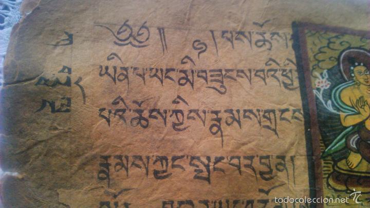 Arte: Libro formato pothi apaisado con dibujos a color,papel de arroz grueso,sanscrito.5 hojas,leer por fa - Foto 9 - 56212045