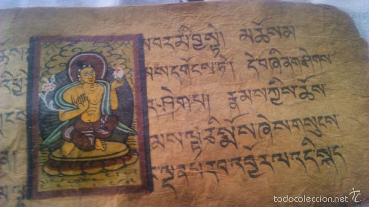 Arte: Libro formato pothi apaisado con dibujos a color,papel de arroz grueso,sanscrito.5 hojas,leer por fa - Foto 10 - 56212045