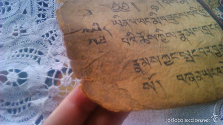 Arte: Libro formato pothi apaisado con dibujos a color,papel de arroz grueso,sanscrito.5 hojas,leer por fa - Foto 11 - 56212045