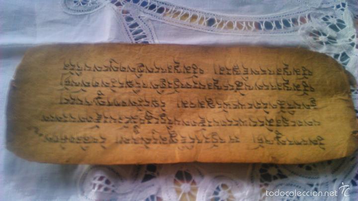 Arte: Libro formato pothi apaisado con dibujos a color,papel de arroz grueso,sanscrito.5 hojas,leer por fa - Foto 12 - 56212045