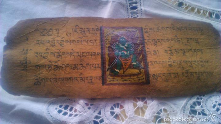 Arte: Libro formato pothi apaisado con dibujos a color,papel de arroz grueso,sanscrito.5 hojas,leer por fa - Foto 13 - 56212045