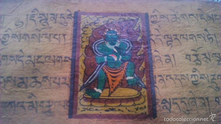 Arte: Libro formato pothi apaisado con dibujos a color,papel de arroz grueso,sanscrito.5 hojas,leer por fa - Foto 14 - 56212045