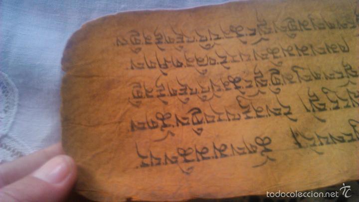 Arte: Libro formato pothi apaisado con dibujos a color,papel de arroz grueso,sanscrito.5 hojas,leer por fa - Foto 16 - 56212045