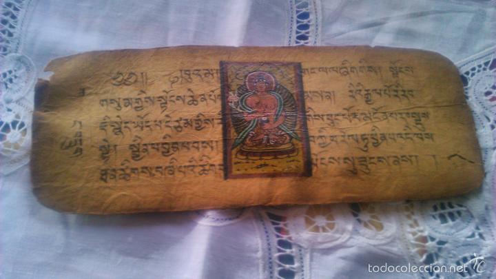Arte: Libro formato pothi apaisado con dibujos a color,papel de arroz grueso,sanscrito.5 hojas,leer por fa - Foto 17 - 56212045