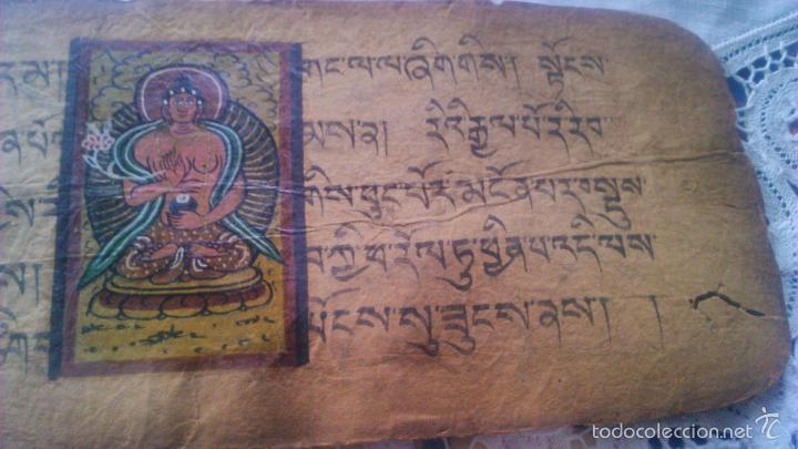 Arte: Libro formato pothi apaisado con dibujos a color,papel de arroz grueso,sanscrito.5 hojas,leer por fa - Foto 18 - 56212045