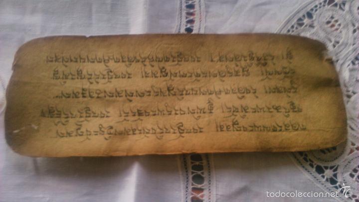 Arte: Libro formato pothi apaisado con dibujos a color,papel de arroz grueso,sanscrito.5 hojas,leer por fa - Foto 19 - 56212045