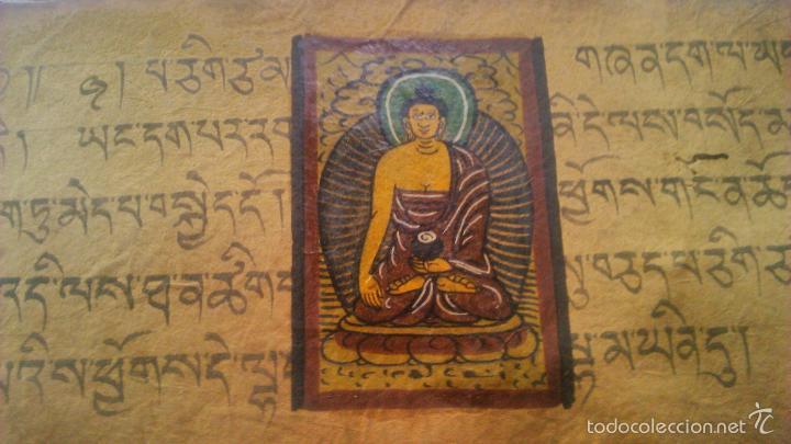 Arte: Libro formato pothi apaisado con dibujos a color,papel de arroz grueso,sanscrito.5 hojas,leer por fa - Foto 20 - 56212045