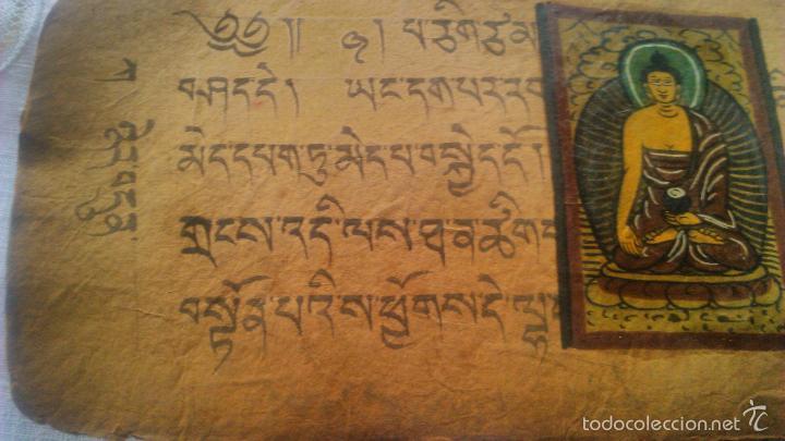 Arte: Libro formato pothi apaisado con dibujos a color,papel de arroz grueso,sanscrito.5 hojas,leer por fa - Foto 21 - 56212045