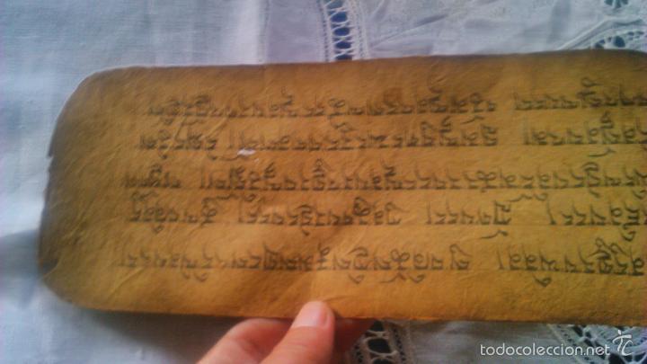 Arte: Libro formato pothi apaisado con dibujos a color,papel de arroz grueso,sanscrito.5 hojas,leer por fa - Foto 22 - 56212045