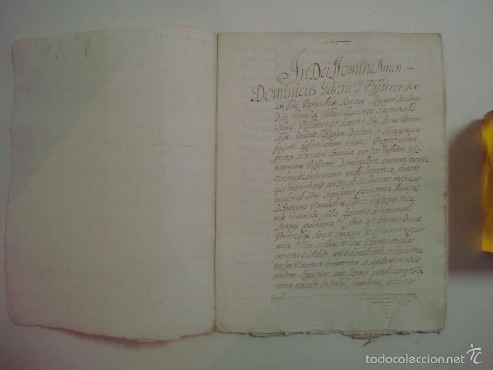 Arte: MANUSCRITO DE 1706. GERUNDA.GIRONA. NUBCIALS.TEXTO LATÍN. 7 PÁGINAS.FOLIO MENOR - Foto 2 - 57049657