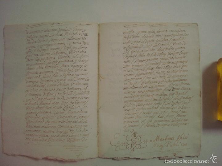 Arte: MANUSCRITO DE 1706. GERUNDA.GIRONA. NUBCIALS.TEXTO LATÍN. 7 PÁGINAS.FOLIO MENOR - Foto 4 - 57049657